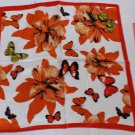 "Gift 20"" Neck Head Scarf Wrap Kerchief Bandana Butterflies Flowers Orange"