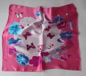 Gift 20&quot; Square Neck head Scarf Wrap Pink Lotus Butterflies