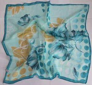 """Gift 24"""" Chiffon Neck Head Scarf Wrap Teal Flowers with defects- must read description"""