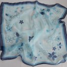 "Gift 24"" Silk Chiffon Neck Head Scarf Wrap Blue Star Dark Blue"