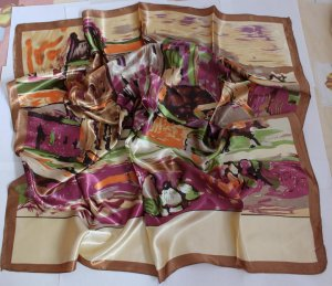 "Sold Out: Gift 35"" Silk like Scarf Wrap Bandana Kerchief Abstract Drawing"