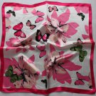 Gift 20&quot; Square Neck Head Scarf Wrap Pink Butterflies