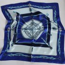"23"" silk like Scarf Shawl Kenchief Bandanna Blue with big defects!"