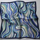"Gift 20"" Neck Head Scarf Wrap Blue Stripes with defects - must read details"