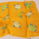 "Gift 24"" chiffon Neck Head Scarf Wrap Flowers Yellow Xmas"