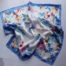 """23"""" Neck Head Scarf Wrap Shawl Kerchief Bandanna Floral Blue"""