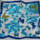 "Gift 20"" Neck head Scarf Wrap Blue Butterflies Flowers + Defects"