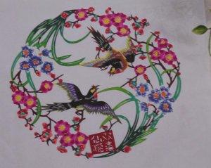Gift art pepercut paper-cuts papercutting birds flower -- Xmas