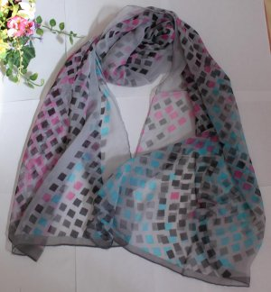 Gift Silk Chiffon Oblong Scarf --- little squares