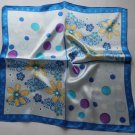 "Gift 20""  Neck Head Scarf Wrap Blue flowers Dots"