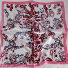 """21"""" Neck Head Scarf Wrap Red Blue Circles Pink Border -must read details"""
