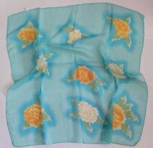"""Gift 26"""" Neck Head Scarf Shawl Wrap Kerchief Blue Floral"""