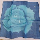 "Gift 24"" chiffon Neck Head Scarf Wrap Blue Flowers Xmas - must read details"