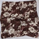 "Gift 20"" Neck head Scarf Wrap Bandana Brown Flowers"