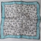 "Gift 20"" Chiffon Neck Head Scarf Wrap Floral + Blue borders -must read details"