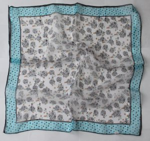 """Gift 20"""" Chiffon Neck Head Scarf Wrap Floral + Blue borders -must read details"""