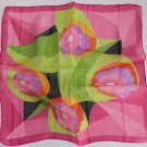 "20"" Chiffon Silk Neck head Scarf Wrap Pink Green Flower Xmas Gift"