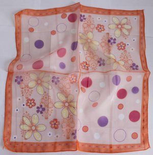 """20"""" Chiffon Neck head Scarf Wrap Yellow Flowers Orange  with defects- must read description"""