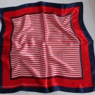 "Gift 21"" Neck Head Scarf Wrap Kerchief Stripes Red  with defects- must read description"