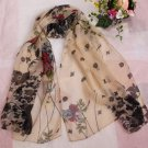 Gift Silk Chiffon Oblong Scarf Floral Fast Shipping