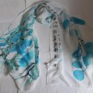 Gift Silk Like Chiffon Oblong Scarf - Chinese Painting Handwriting Blue