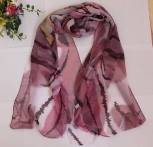 Gift Silk Feeling Chiffon Oblong Scarf -- Stripes fast shipping -must read details