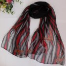 Gift Chiffon Oblong Scarf ---  Stripes Black Red Gray