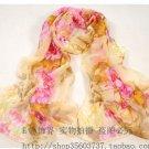 Gift Silk Feeling Chiffon Oblong Scarf flowers Orange & Yellow Fast Shipping