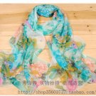 Gift Silk Feeling Chiffon Oblong Scarf Flowers Blue Fast Shipping