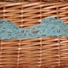 "1.6"" Stretch Lace Trim DIY Floral Aquamarine,1.1 yds/piece, 2 pcs, 2.2 yds in total"