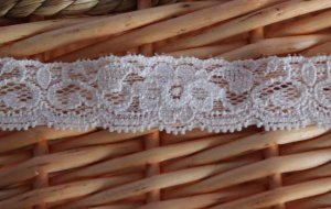 Sold Out: Elastic Stretch Lace Trim Floral Peach 0.87&quot;  Wide 1.1 yds Fast Shipping