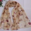 Gift Silk Like Chiffon Oblong Scarf flowers -- Fast Shipping