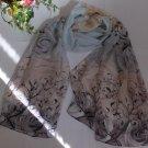 Gift Chiffon Silk Oblong Scarf - Flowers Elegant Fast Shipping