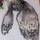 Gift Chiffon Silk long Scarf - Flowers