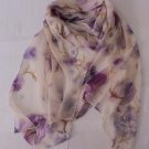 Gift Silk Like Chiffon Oblong Scarf flowers Violet Fast Shipping