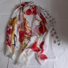 Gift Chiffon Silk Oblong Scarf - Chinese Painting Handwriting Red