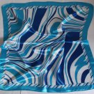 "Gift 24"" Imitation Silk Scarf Wrap Kerchief Stripes Blue Fast Shipping"