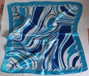 "Gift 24"" Immitate Silk Scarf Wrap Kerchief Stripes Blue Fast Shipping"