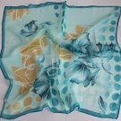 "Gift 24"" Chiffon Neck Head Scarf Wrap Floral Teal blue - not perfect, must read details"