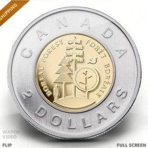 Two-dollar circulation coin celebrating Canada's boreal forest MINT