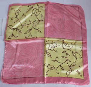 "Gift 20"" Neck Head Scarf Wrap Pink Yellow Lovely - must read details"