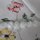 "Rose 3D Lace Trim Flowers White Rosette on Mesh 1 Yd long 0.59"" wide"