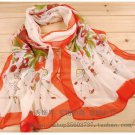 Gift Silk Chiffon Oblong Scarf  Floral Gorgeous Fast Shipping