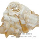 Gift Silk Chiffon Oblong Scarf -- Flowers Elegant