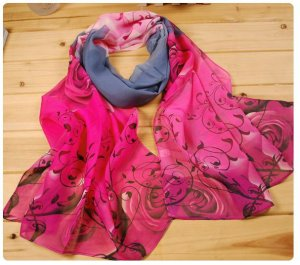 Beautiful Silk Chiffon Oblong Scarf -- Floral Gray Red