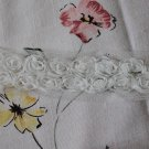"Chiffon Rose 3D Lace Trim 2 Rows White Flowers Rosette on Mesh 1.2"" Wide 1 Yd"