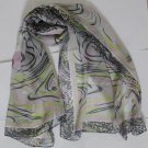 Gift Silk Chiffon Oblong Scarf -- Stripes Gray