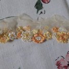 Fabulous Lace Trim Embroidered Yellow Orange White Flowers Mesh 1.1 yds Fast Shipping