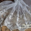 Fabulous Lace Trim Embroidered Floral Mesh Tulle  1.1yds Fast Shipping
