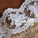 Fabulous White Lace Trim Embroidered Floral Mesh 1.97 yds Fast Shipping
